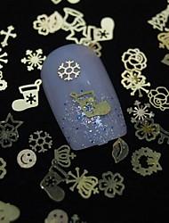100PCS Mix Shape Golden Metal Slice Of Computerlv Nail Art Decoration