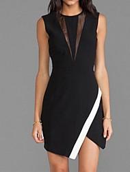 Women's Patchwork Black Dress , Sexy/Bodycon Crew Neck Sleeveless