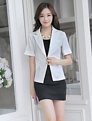 Women's White Blazer , Casual Short Sleeve