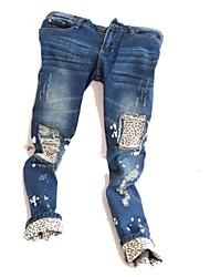 hole moda casual lápis flanging leopardo grão jeans feminina zian®