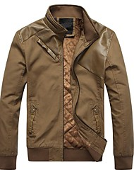 Men's Long Sleeve Casual Jacket,Polyester / Faux Leather Solid Green / Yellow