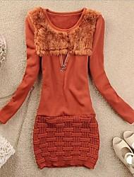Women's Round Neck Mini Dress , Cotton Blends Black/Brown/Orange Bodycon/Casual/Lace