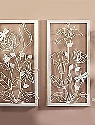 Metal Wall Art Wall Decor,White Flowers Wall Decor Set Of 2