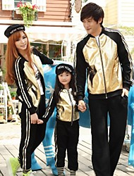 Family's Fashion Personality PU Color Matching Parent Child Exercise Clothing Set