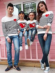 Family's Fashion Joker Leisure Parent Child Long Sleeved Love Stripe T Shirt