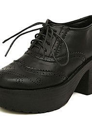 Women's Shoes Round Toe Chunky Heel Patent Leather Oxfords Shoes