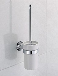 Contemporary Chrome Finish Brass Material Toilet Brush Holder