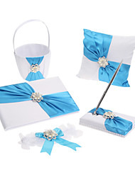 5 Collection Set White Flower Basket / Garter / Guest Book / Pen Set / Ring Pillow