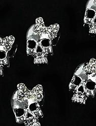 10st zilveren punk schedel met 3d strass strikje nail art decoratie