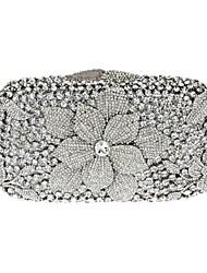 Women's Flower Design Crystal Evening Party Hand Clutch