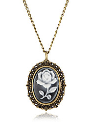 modelo color de rosa reloj collar de la aleación de las mujeres
