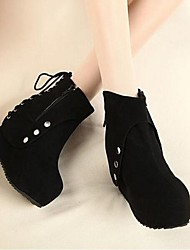 Women's Summer / Fall / Winter Wedges / Fashion Boots Suede Party & Evening / Dress Wedge Heel Rivet / Lace-up Black
