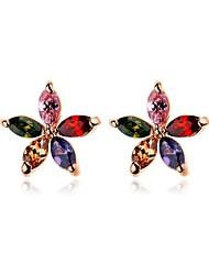 Brass Vermeil Plated With Cubic Zirconia Multi Color Stud Earrings