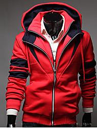 Fengge мужская балахон контраст цвета оболочка пальто