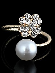 Personable Korean Clover Pattern Metal With Artificial Diamond White Pearl Opening Adjustable Ring Gold(1Pc)