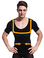 Summer Men Slimming Body Shaper Short Sleeve Shirt Tummy Control Underwear Firm Belly Bust Black NY103