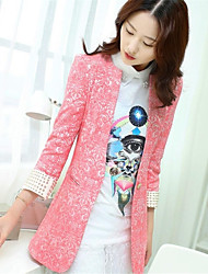 Women's Candy Jacquard Top Fashion ¾ Sleeve Coat