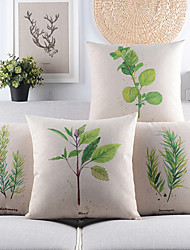 Set of 4 Fresh Leaves Cotton/Linen Decorative Pillow Cover,