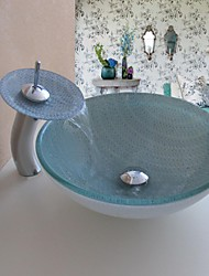 Bathroom Sink Set,Tempered glass Vessel Sink With Waterfall Faucet,Mounting Ring and Water Drain