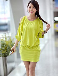 Women's Fashion Solid Color Elastic Waist Half Sleeve Mini Dress