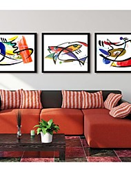 Abstract The Fish Adornment Picture Framed Canvas Print Set of 3