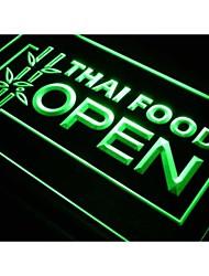 J705 comida tailandesa cafetería abierta signo luz de neón del restaurante