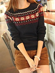 Women's Fall Wear with Snowflake Jacquard Round Collar Pullover Sweater