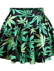 PinkQueen® Women's Spandex Green Mari Juana Leaves Printed  Pleated Skirt