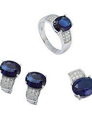 Fashion 925 Sterling Silver Cubic Zirconia (lncludes Earring Ring and Pendants) Jewelry Set