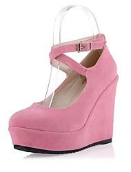 sapatos femininos bombas rodada toe cunha reunindo calcanhar sapatos mais cores disponíveis