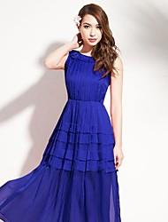 joanne chaton robe de plage pour femmes, midi solide sans manches bleu / rose / ressort de polyester vert / été / automne