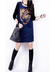 Zian® Women's Round Neck Tiger Print A-Line Package Hip Slim Long Sleeves Dress