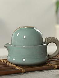 estilo chinês porcelana cyan jogo de chá, 1 pc bule, 1 pc xícara de chá
