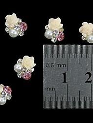 10pcs 3D Rose Blume weiße Perle Strass DIY Zubehör Nagelkunstdekoration