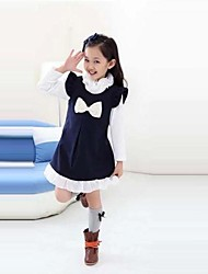 Girl's Solid Dress,Polyester / Cotton Blend Fall Blue / Red / Yellow