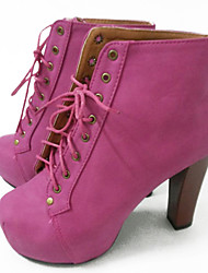Yimei Women Winter Lacing Thick Heel Short Boots (Fuchsia)