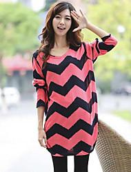 Women's Round Collar Long Sleeve Printing Dresses