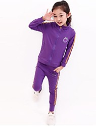 Girl's Fashion And Leisure Zipper Long Sleeves Sports Clothing Set