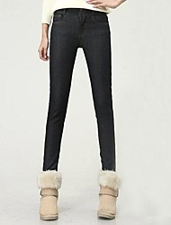 vrouwen dikke fleece slanke jeans denim broek