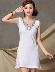 Silu Women's National V Neck Sequins Embroidery Slim Dress
