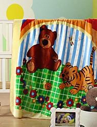 edredón shuian® estancia suave engrosamiento cálido raschel niños ocio manta con tigre de dibujos animados& patrón de oso