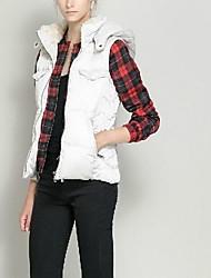 Women's Fashion Hooded Down Vest Sleeveless Fur Neckline Coat More Colors