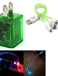 conduit de lumière double usb 2 ports adaptateur chargeur clignote, plus souriant câble USB 3in1 de visage pour samsung / iphone / ipad / htc (6color)