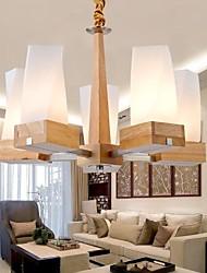 pingente de carvalho lâmpada, cinco luzes, carvalho e vidro, 220 ~ 240V (hy2365)