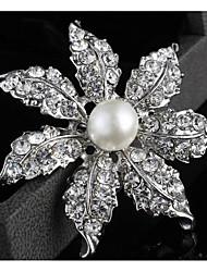 aleación de plata de la perla coreana de moda los broches de diamantes de imitación de las mujeres