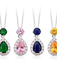Brass Vermeil Plated With Cubic Zirconia Drops Necklaces(Multi Colors)