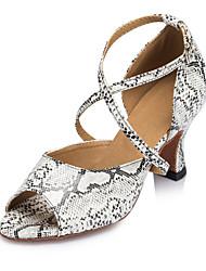 Non Customizable Women's Dance Shoes Salsa Flocking Cuban Heel Blue/Brown/White
