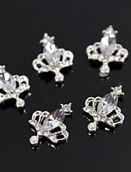 10pcs Charm Crown Large Crystal Rhinestone 3D Alloy Nail Art Decoration