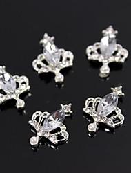 10pcs coroa charme grande strass cristal 3d liga nail art decoração