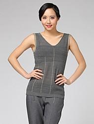 colete oxygene monde® v pescoço ponto lurex sleevless das mulheres de malha